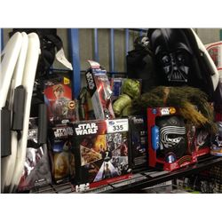 SHELF LOT OF STAR WARS TOYS INCLUDING MILLENNIUM FALCON, KYLO REN,ETC.