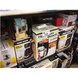 SHELF LOT OF ASSORTED HOUSEHOLD ITEMS INCLUDING SUNBEAM COFFEE MAKER, KEURIG, FOODSAVER, ETC.