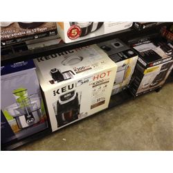 SHELF LOT OF ASSORTED HOUSEHOLD ITEMS INCLUDING KEURIG, HOME TRENDS DEEP FRYER, ETC.