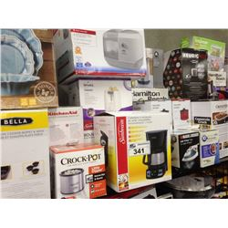 SHELF LOT OF ASSORTED HOUSEHOLD ITEMS INCLUDING RIVAL TOASTER, CROCKPOT, ETC.