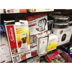 SHELF LOT OF ASSORTED HOUSEHOLD ITEMS INCLUDING BAKER SET, TASSIMO, SUNBEAM BLENDER ETC.