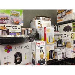 SHELF LOT OF ASSORTED HOUSEHOLD ITEMS INCLUDING TASSIMO, TIGER RICE COOKER, ETC.
