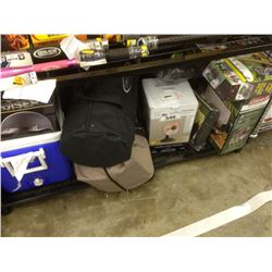SHELF LOT OF CAMPING GEAR, HEATER, DOME TENT, COOLER, SIGI CRUISER HELMET  ETC.