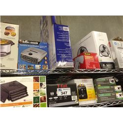 2 SHELF LOTS OF ASSORTED HOUSEHOLD ITEMS INCLUDING DEHYDRATOR, TV WALL MOUNTS, SLOW COOKER, ETC.