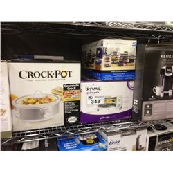 SHELF LOT OF ASSORTED HOUSEHOLD ITEMS INCLUDING KEURIG, CROCK POT,OSTER BLENDER  ETC.