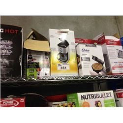 SHELF LOT OF ASSORTED HOUSEHOLD ITEMS INCLUDING KEURIG, HUMIDIFIER, ETC.