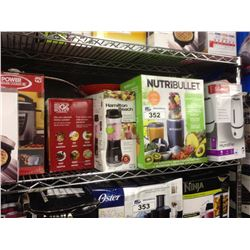 SHELF LOT OF ASSORTED HOUSEHOLD ITEMS INCLUDING NUTRIBULLET, PRESSURE COOKER, ETC.