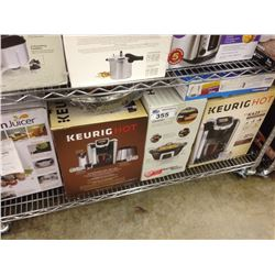 SHELF LOT OF ASSORTED HOUSEHOLD ITEMS INCLUDING KEURIG, FUSION JUICER, STARFRIT FRY PAN ETC.