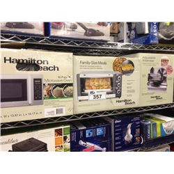 2  SHELF LOT OF ASSORTED HOUSEHOLD ITEMS INCLUDING MICROWAVE, MEAT SLICER, DEHYDRATOR, ETC.