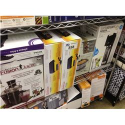 SHELF LOT OF ASSORTED HOUSEHOLD ITEMS INCLUDING SUNBEAM GRILL, SODASTREAM,FUSION JUICER, ETC.