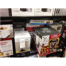 SHELF LOT OF ASSORTED HOUSEHOLD ITEMS INCLUDING SLOW COOKER, BELLA POPCORN MAKER, KNIFE SET, ETC.