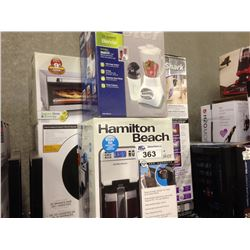 SHELF LOT OF ASSORTED HOUSEHOLD ITEMS INCLUDING KEURIG, OSTER BLENDER, STEAM CLEANER, ETC.