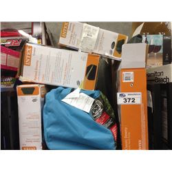 SHELF LOT OF INTEX AIR MATTRESSES AND 5 PIECE PREMIUM CAMP COMBO