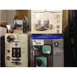 SHELF LOT OF ASSORTED HOUSEHOLD ITEMS INCLUDING DINNERWARE SET, SEALER, TRASSIMO, ETC.