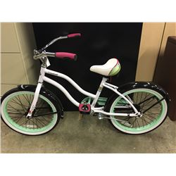 WHITE HUFFY CRANBROOK SINGLE SPEED KIDS CRUISER BIKE