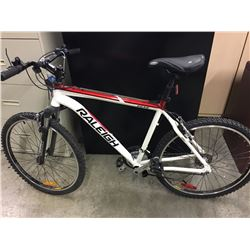 WHITE RALEIGH PEAK 21 SPEED FRONT SUSPENSION MOUNTAIN BIKE