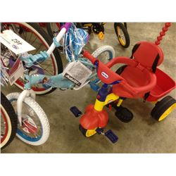 2 HUFFY CHILDRENS BIKES AND 1 LITTLE TIKES TRIC