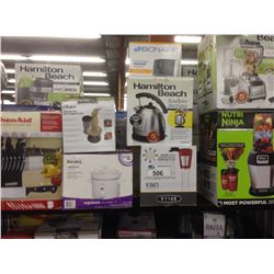 SHELF OF ASSORTED SMALL APPLIANCES INCLUDING A NUTRI NINJA BLENDER, KITCHENAID CUTLERY SET ETC.
