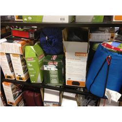 SHELF OF ASSORTED CAMPING GEAR INCLUDING INTEX AND COLEMAN AIRMATTRESSES, COLEMAN SLEEPING BAG