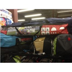 SHELF OF ASSORTED CAMPING GEAR INCLUDING A VENTURA 5 PEICE CAMP COMBO AND VENTURA SUN & BEACH SHELTE