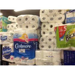 SHELF OF ASSORTED PAPER TOWEL/TOILET PAPER