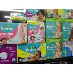 SHELF OF ASSORTED PAMPERS DIAPERS