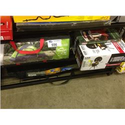 SHELF OF ASSORTED CAMPING GEAR INCLUDING DOME TENT, PORTABLE BACKYARD GRILL ETC.