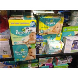 SHELF OF ASSORTED PAMPERS DIAPERS, WIPES, VTECH BABY MONITOR, ELMO ETC.