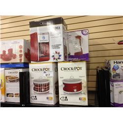 SHELF LOT OF ASSORTED SMALL APPLIANCES INCLUDING  CROCKPOTS, BELLA COFFEE MAKER ETC.