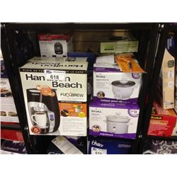 SHELF LOT OF ASSORTED SMALL APPLIANCES INCLUDING A HAMILTON BEACH COFFEE MAKER, NUTRI NINJA BLENDER