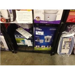 SHELF LOT OF ASSORTED SMALL APPLIANCES INCLUDING AN OSTER JUICE EXTRACTOR, RIVAL TOASTER AND 12 PEIC