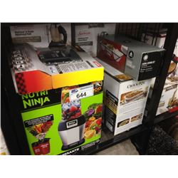SHELF OF ASSORTED SMALL APPLIANCES INCLUDING NUTRI NINJA BLENDER, CROCKPOT AND OSTER HAND MIXER