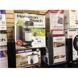 SHELF OF ASSORTED SMALL APPLIANCES INCLUDING HAMILTON BEACH COFFEE MAKER, CROCKPOT, BLACK AND DECKER