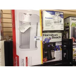 SHELF OF ASSORTED SMALL APPLIANCES INCLUDING A SUNBEAM LOW PROFILE HEATER, HAMILTON BEACH COFFEE MAK