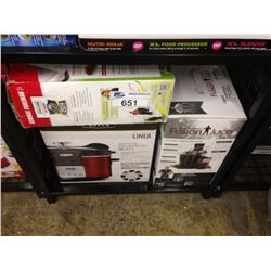 ASSORTED STORE RETURN PRODUCT INCLUDING A GEORGE FOREMAN GRILL, BELLA SLOW COOKER AND FUSION JUICER