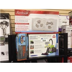ASSORTED STORE RETURN PRODUCT INCLUDING A BISSELL POWERFORCE CONISTER VACUUM  AND A EXPLORE 2000 BOA
