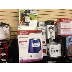 ASSORTED STORE RETURN PRODUCT INCLUDING A 24 PEICE BEVERAGE SET, SUNBEAM HUMIDIFIER AND A MIX MASTER