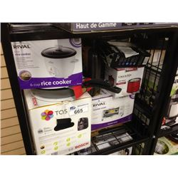 SHELF OF ASSORTED SMALL APPLIANCES INCLUDING TASSIMO, RIVAL TOASTER OVEN AND A BLACK AND DECKER COFF