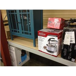 5 PIECE DINING SET, ASSORTED SMALL APPLIANCES & CABINET