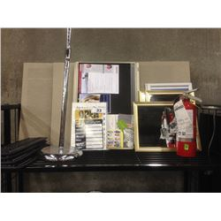 SHELF LOT OF ASSORTED BULLETIN BOARDS, SIGNS AND MORE