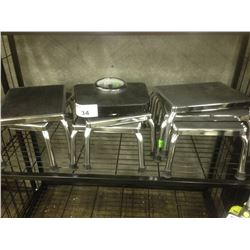 SHELF LOT OF METAL STOOLS AND SCALE