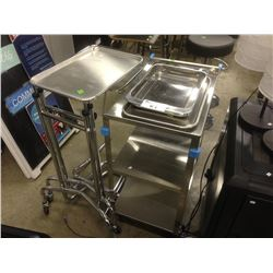 LOT OF STAINLESS STEEL MOBILE CARTS AND TRAYS