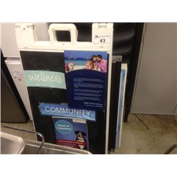LOT OF ASSORTED SANDWICH BOARDS AND DISPLAY SIGNS