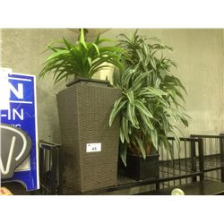 SHELF LOT OF DECORATIVE PLANTS, AND LAMPS