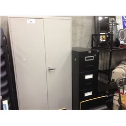 GREY METAL 6' STORAGE CABINET WITH CONTENTS INC. LARGE QUANTITY OF MEDICAL DISPOSABLES AND SUPPLIES