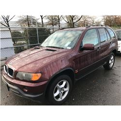 2001 BMW X5, 4 DOOR SUV, RED, VIN # WBAFA53561LM73734