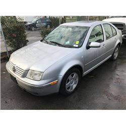 2001 VOLKSWAGEN JETTA, 4 DOOR SEDAN, GREY, VIN # 3VWSK69M31M163944
