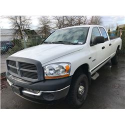 2006 DODGE 2500, 4 DOOR PU, WHITE, VIN # 3D7KS28D86G205422