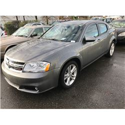 2013 DODGE AVENGER SXT, 4 DOOR SEDAN, GREY, VIN # 1C3CDZCB5DN502423