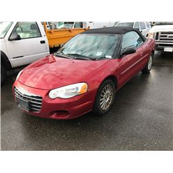 2005 CHRYSLER SEBRING, 2 DOOR CONVERTIBLE, RED, VIN # 1C3EL45R55N700817